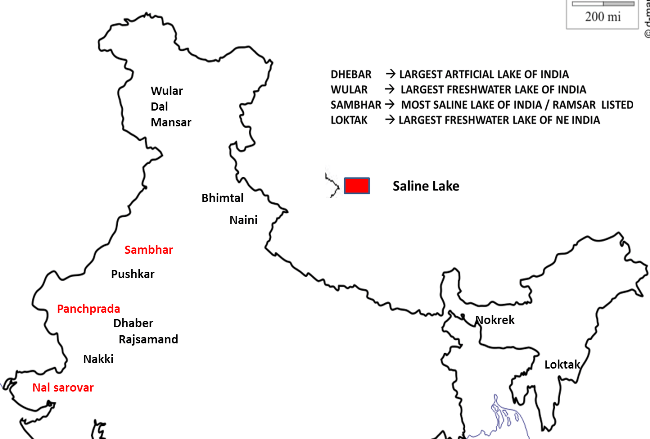 Major Lakes in India